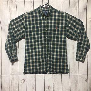 Ralph Lauren Boys Button Down Shirt L Plaid Green
